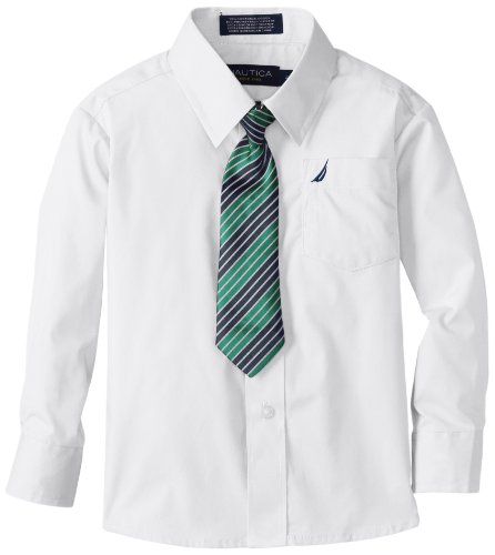 Nautica Little Boys' Basic Packaged Shirt Sets With Tie, White, 4 front-1032177