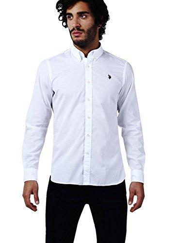 U.S.POLO ASSN. - JAXON SHIRT BD, Camicia Manica Lunga uomo, Bianco (White/Weiß), Medium