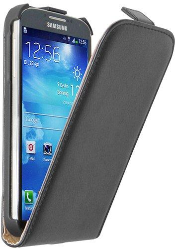 Ultra Slim Nera Custodia in Pelle per Samsung Galaxy S4 (GT-i9500 / i9505 LTE / i9502 Duos / Google Edition / S4 Value Edition GT-i9515 / SCH-i959D) - Flip Case Cover + 2 Pellicola Protettiva