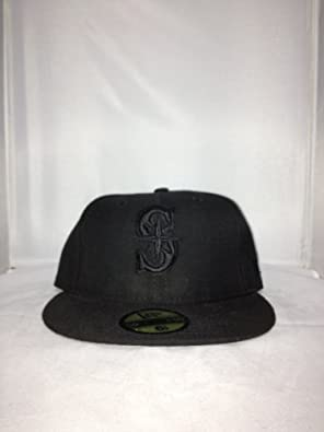 Seattle Mariners New Era Fitted Hat Style: HAT-285-BLACK Size: 6.875 by New Era