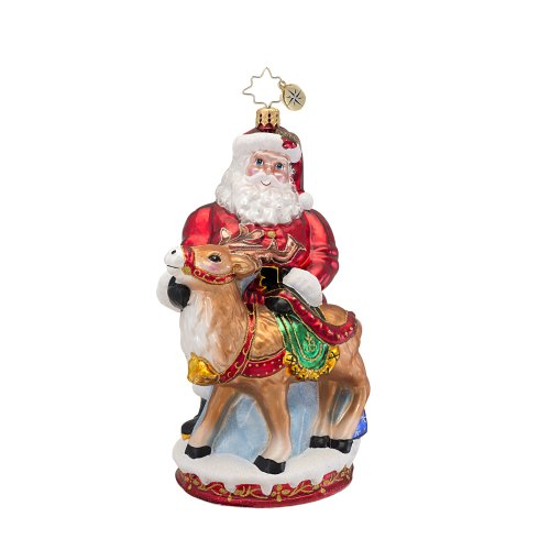 Christopher Radko Deer Friends Glass Christmas Ornament – From Scenes from the North Pole Collection – New for 2013 – 6.5″H.
