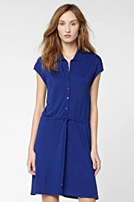 Cap Sleeve Fluid Pique Drawstring Waist Polo Dress