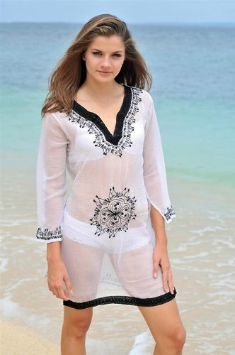 Copacabana Long Sleeve Embroidered Beach Tunic/Cover Up, S, White