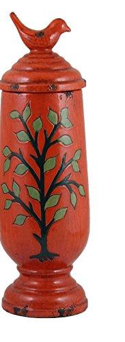Essential Decor Entrada Collection Ceramic Vase, 17.1 by 5.25 by 5.25-Inch, Orange