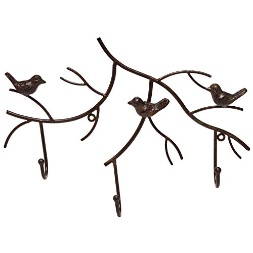 Wall Mounted Rustic Bronze Decorative Metal Tree Branch Design 3 Coat Hooks Storage Hanger Rack - MyGift®