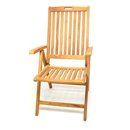GL05005 Gartenstuhl Hochlehner Klappstuhl Teakstuhl Teak Holz Stuhl mit Armlehne 5-fach verstellbar für Terrasse Balkon Wintergarten witterungsbeständig behandelt massiv klappbar natur