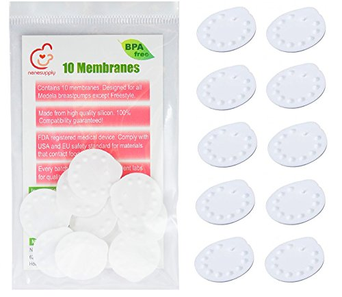 Nenesupply 10 Count Membranes for Medela Pump In Style, Medela Swing, Lactina, Symphony, Mini Electric, Harmony Breastpumps. Compatible with Medela Valve, Nenesupply Valve. Replace Medela Membrane. Can Be sterilized with Medela Quick Clean Micro-Steam Bag. (10 Count)