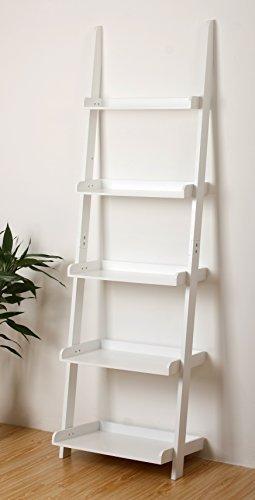eHemco 5 Tier Bookcase Ladder in White Finish