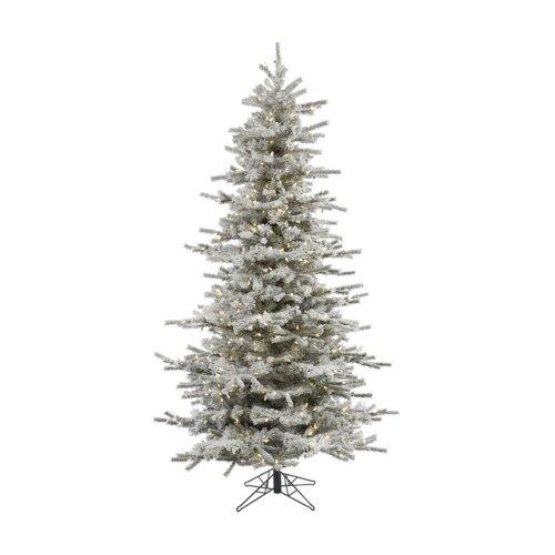 Vickerman Sierra Flocked Slim Pre-Lit Led Christmas Tree, Warm White, Pvc, 4.5 Ft.