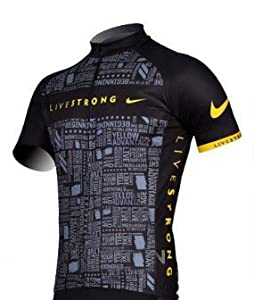 2012 Black Livestrong Mens Short Sleeve Cycling Jersey by Livestrong