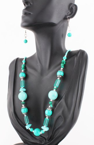 Ladies Teal Round Beaded with Clear Spacers 21 Inch Adjustable Necklace with Matching Dangle Earrings Jewelry Set