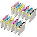 12 (2 séries de 6) compatibles Epson Cartouches d'encre haute capacité pour Epson Stylus Photo P50 R265 R285 R360 RX560 RX585 PX650 PX660 RX685 PX700W PX710W PX720WD PX730WD PX800FW PX810FW PX820FWD PX830FWD. 2x T0801, 2x T0802, 2x T0803, 2x T0804, 2x T0805, 2x T0806