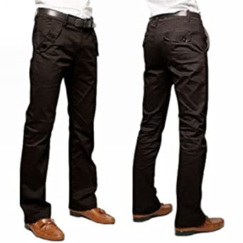 Motony Men's Fashion Stylish Designed Straight Slim Fit Trousers Casual Long Pants Coffee W29