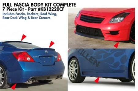 Stillen Kb12220Cf Complete 7-Piece Body Kit W/Fascia, Roof & Deck Wing - 08-09 Altima Coupe front-1070201