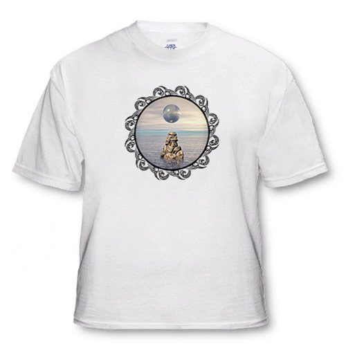 Crystal Ball surreal mysterious crystal ball floating over a stack of rocks at sea - Adult T-Shirt 6XL