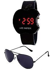 Sheomy Unisex Combo Pack Of Sunglasses And LED Digital Black Dial Apple Shape Watch - B01LXVM5EL