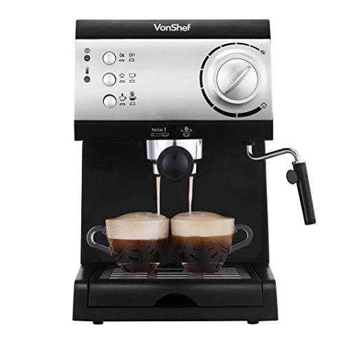 VonShef Electric 15 Bar Automatic Espresso and Cappuccino Coffee Maker Machine The Kitchen ...