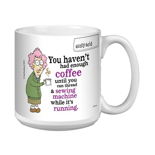 Tree-Free Greetings Xm27798 Aunty Acid Artful Jumbo Mug, 20-Ounce, Sewing Machine