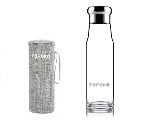 TOPOKO 18.5OZ Top Level Quality Stylish Environmental Borosilicate Glass Water Bottle with Colorful Nylon Sleeve (Silver) Miu Miu Bags Light