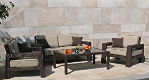 4-pc Deep Seating Outdoor Patio Furniture Set - Bronze Leather Flat Wicker/Beige