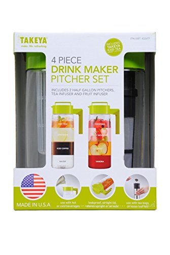 Takeya 4 Piece Drink Maker Pitcher Set (Green)