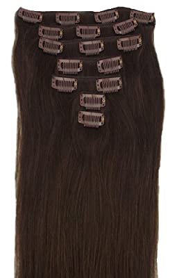 """24"""" Clip in Remy Human Hair Extensions 2# Dark Brown 7pcs 100g"""