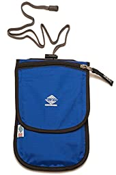 Aqua Quest Continental Travel Pouch - Water Resistant with 100% Waterproof Passport Holder Compartment - Comfortable, Ultra-Light, Durable, Easy to Conceal Wallet with Belt Loops - Blue
