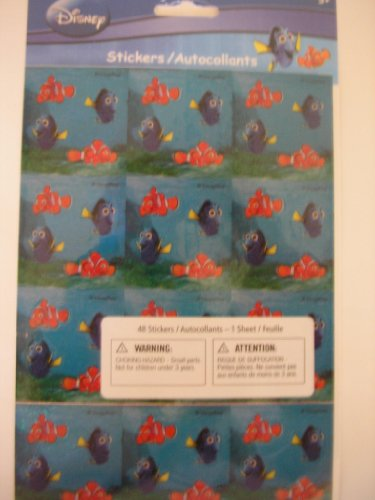 Disney Finding Nemo 1 Sheet Shimmering Stickers ~ 48 pcs