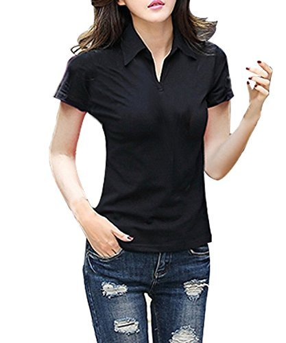 FACE N FACE Women's Cotton V Neck Polo Short Sleeve Tshirt