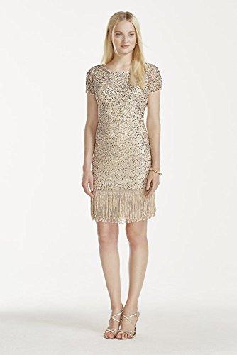 Novelty Cap Sleeve Short Wedding Dress with Fringe Hem Style 141706360,...