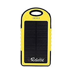 Reliable 5000 Mah solar power bank dual charging with led torch Yellow