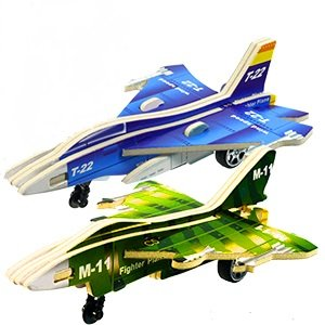 3D DIY Pull Back Warplane Jigsaw Puzzle