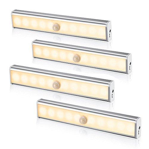 Welltop Luce del sensore USB ricaricabile a LED di movimento -Wireless PIR Motion Sensing Light Bar luce di notte della parete con Stick-on magnetica Striscia per armadio cabina armadio Scale Armadio - Confezione da 4