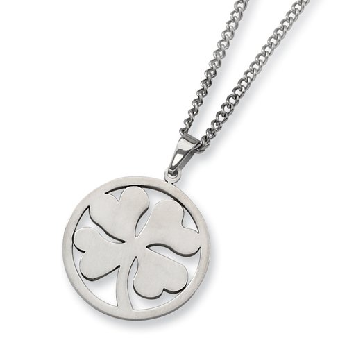Chisel 4 Leaf Clover Brushed Stainless Steel Necklace on 22 Inch Chain