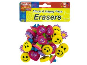 Flower and happy face erasers - Case of 24