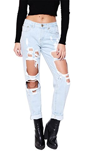 Mink Gal Women Destroyed Boyfriend Jeans Ripped Washed Denim Trousers women lady destroyed ripped jeans distressed hole denim flower pants boyfriend jeans trousers new