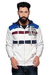 Nucode Men's Striped Cotton Hooded Neck White Sweatshirt