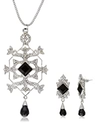 Pretty Women Tortoise Look Pendent Consist CZ Stone & Black Beads With Silver Chain And Matching Earings