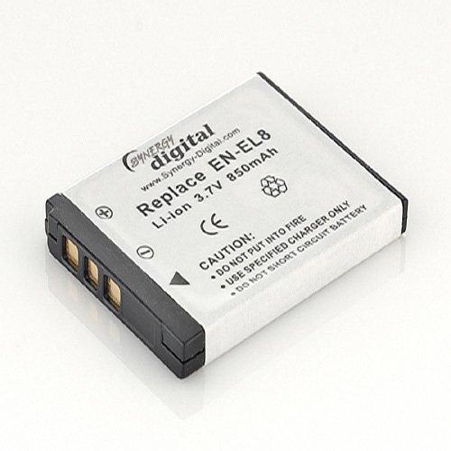 SDENEL8 wiederaufladbarer Lithium-Ionen-Akku - Sehr hohe Kapazität (3,7V 850 mAh) Ersatz für Nikon Akku ENEL8 - Kompatibel mit Nikon Digitalkameras: Nikon Coolpix P1, P2, S1, S2, S3, S5, S6, S7c, S9, S50, S51, Kodak EasyShare M590