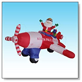 Animated 8 Foot Long Christmas blow up Santa Claus Flying Airplane 2012 Yard Decoration