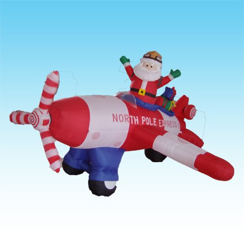 Animated - 8 Foot Long Christmas Inflatable Santa Claus Flying Airplane 2012 Yard Decoration