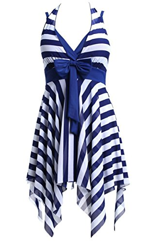 Women's One Piece Striped Bathing Suits Backless Swimdress Blue Striped Suit