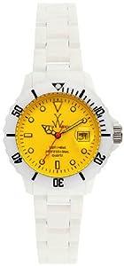 Unisex Watch Toy FL01WHYL White Plastic Resin Case and Bracelet Quartz Yellow D