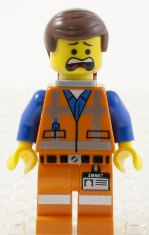LEGO Movie Emmet Minifigure with double-sided face (smirk + bewildered) and Piece of Resistance - 1