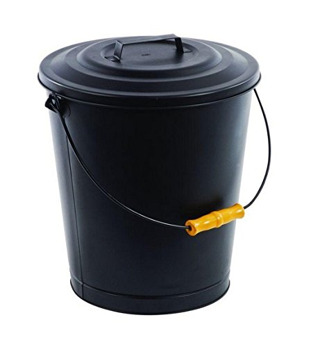Fireplace Metal Hot Ash Covered Fireproof Bucket with Lid Black (Wood Stove Bucket compare prices)