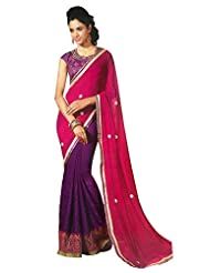 Faux Georgette Saree In Purple Colour For Party Wear - B00VD5XN2S