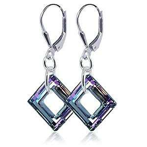 "SCER197 Square Vitrial Light Genuine Crystals Sterling Silver Leverback 1.5"" Dangle Earrings MADE WITH SWAROVSKI ELEMENTS"