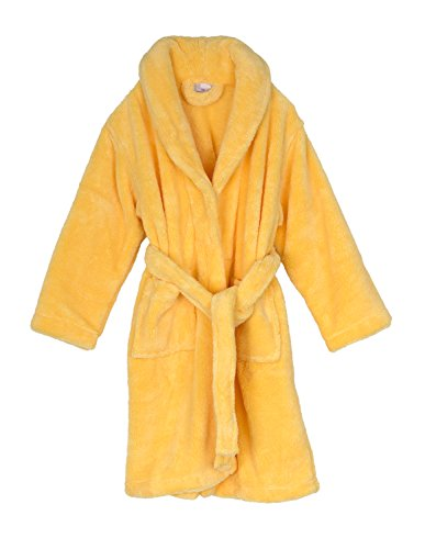 TowelSelections Big Girls' Plush Shawl Robe Soft Fleece Bathrobe Size 12 Sunshine