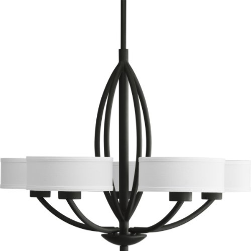 B004K5CR4I Progress Lighting P4539-80 Calven Five Light Chandelier, Forged Black Finish with White Fabric Shade