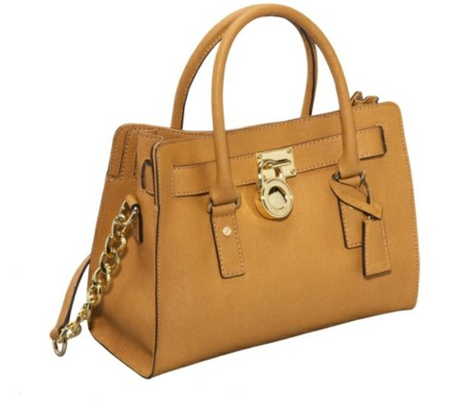Michael Michael Kors Hamilton 18k E/w Satchel Saffiano Leather Tan